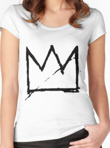 Crown (Black) Women's Fitted Scoop T-Shirt