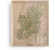 Vintage Physical Map of Ireland (1880) Metal Print