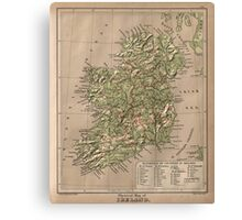 Vintage Physical Map of Ireland (1880) Canvas Print