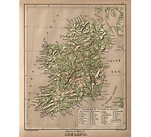 Vintage Physical Map of Ireland (1880) Photographic Print