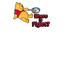 Where is Piglet? Winnie frying bacon. Photographic Print