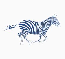 Galloping Zebra Stencil - Blue Kids Clothes