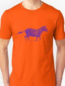 Galloping Zebra Stencil - Blue Unisex T-Shirt