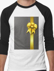 Gold Present Bow Men's Baseball ¾ T-Shirt