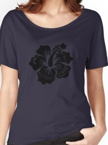 Midnight Marvel Hibiscus Women's Relaxed Fit T-Shirt