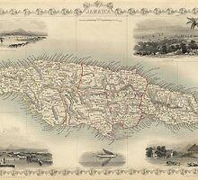 Vintage Map of Jamaica (1851) by BravuraMedia