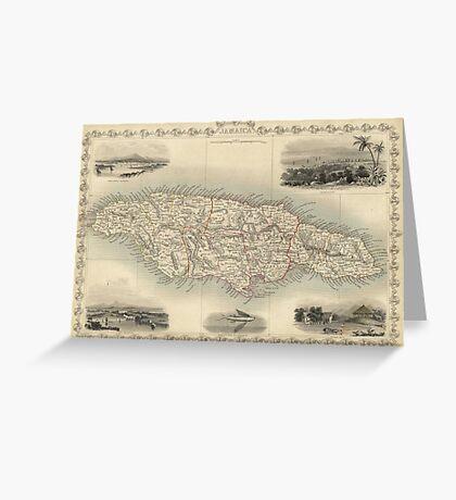 Vintage Map of Jamaica (1851) Greeting Card