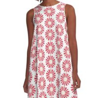 Red Flower Pattern A-Line Dress