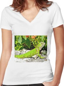 Bright Green Iguana Women's Fitted V-Neck T-Shirt