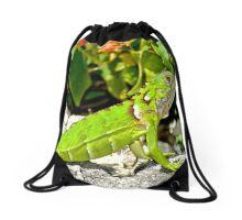 Bright Green Iguana Drawstring Bag