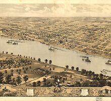 Vintage Pictorial Map of Jefferson City MO (1869)  by BravuraMedia