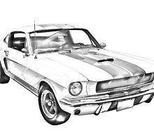 1965 GT350 Mustang Muscle Car Illustration by KWJphotoart