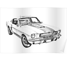 1965 GT350 Mustang Muscle Car Illustration Poster