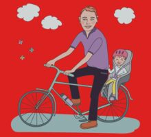 Dad with the baby go by bicycle Baby Tee