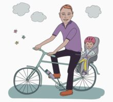 Dad with the baby go by bicycle Kids Tee