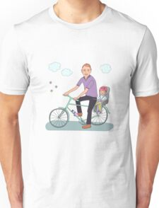 Dad with the baby go by bicycle Unisex T-Shirt