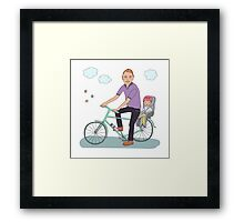 Dad with the baby go by bicycle Framed Print