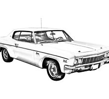 1966 Chevrolet Caprice 427 Car Illustration by KWJphotoart