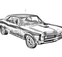 1967 Pontiac GTO Muscle Car Illustration by KWJphotoart