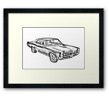1967 Pontiac GTO Muscle Car Illustration Framed Print