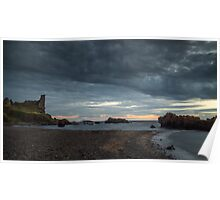 Dusk at Dunure Castle, Ayrshire, Scotland Poster
