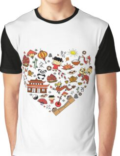 Chinese cartoon elements in heart shape Graphic T-Shirt