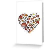 Chinese cartoon elements in heart shape Greeting Card