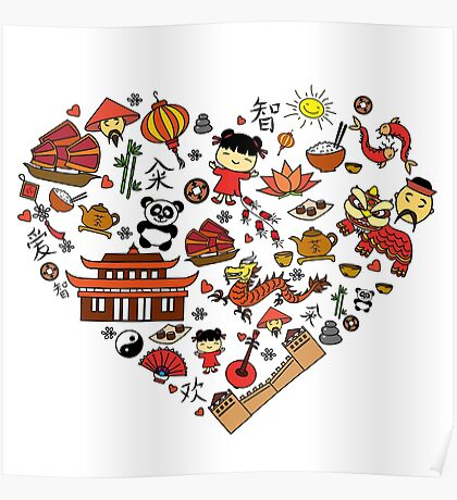 Chinese cartoon elements in heart shape Poster