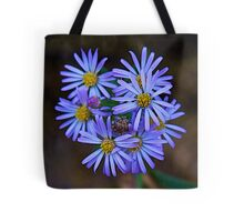 Deep Blue Leafy Aster Tote Bag