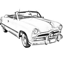 1949 Ford Custom Deluxe Convertible Illustration by KWJphotoart