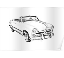1949 Ford Custom Deluxe Convertible Illustration Poster