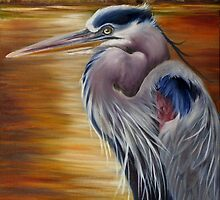 Marsh Sunset And A Blue Heron by Phyllis Beiser