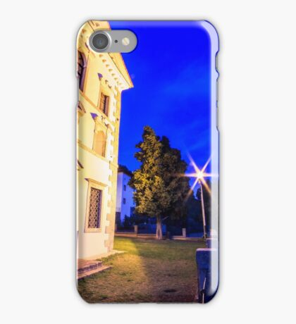 Sunset from a hill with a church down to the vineyards iPhone Case/Skin