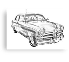 1950 Ford Custom Deluxe Classsic Car Illustration Canvas Print