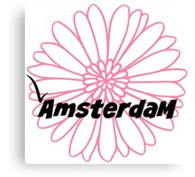 Amsterdam with pink flower Canvas Print