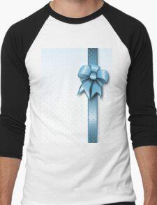 Turquoise Present Bow Men's Baseball ¾ T-Shirt