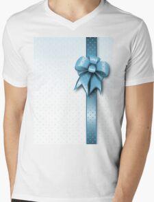 Turquoise Present Bow Mens V-Neck T-Shirt
