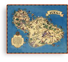 Vintage 1935 Maui island map - Hawaii map - fashion gift ideas for birthday - Christmas gift - Memorial day gift Canvas Print