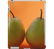 two pears on orange background iPad Case/Skin