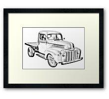 1947 Ford Flat Bed Pickup Truck Illustration Framed Print