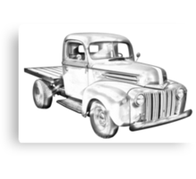 1947 Ford Flat Bed Pickup Truck Illustration Canvas Print