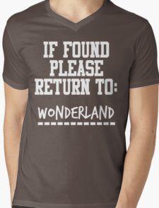 If Found, Please Return to Wonderland Mens V-Neck T-Shirt