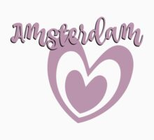 Amsterdam with pink heart Kids Tee