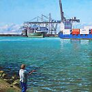 Southampton Western Docks Container Terminal as seen from Marchwood by martyee