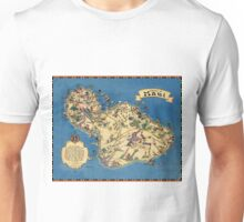 Vintage 1935 Maui island map - Hawaii map - fashion gift ideas for birthday - Christmas gift - Memorial day gift Unisex T-Shirt