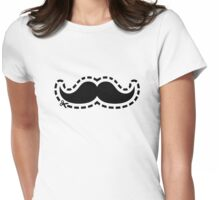 Mustache cut out Womens Fitted T-Shirt