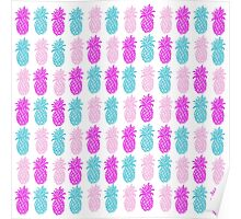 Pineapple Pink and Turquoise Poster