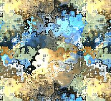 Golden Blue Abstract by Phil Perkins