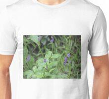 Purple sprinkled on green Unisex T-Shirt