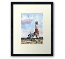 Portland Bill Lighthouse UK - Watercolor Framed Print